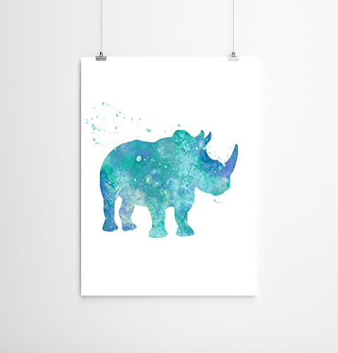 Rhino Watercolor Art Print, Safari Animal Decor, Rhino Wall Art