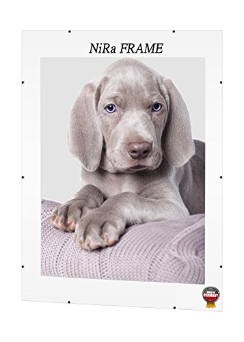 NiRa Rahmenloser Bilderrahmen Cliprahmen Bildhalter Bildträger 48 cm x 34 cm mit entspiegeltem 1mm Anti - Reflex Acrylglas und MDF Rückwand z.B. für Bilder - Puzzle - Fotos - Poster - Urkunde
