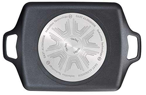 Tefal Aroma - Plancha 32 x 26 cm aluminio fundido, antiadherente revestimiento de titanio, aptas para todo tipo de cocinas,base gruesa adecuada para inducción, picos vertedores y asas de apoyo