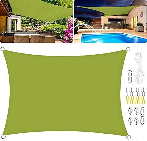 HYLX Toldo rectangular de vela de poliéster, impermeable, 95% UV Block Toldo PU impregnado al viento, kits de fijación- amarillo verde