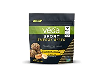 Vega Sport Energy Bites Peanut Butter Banana (4 Servings, 5.6oz) - Vegan Plant Based Workout Fuel Wi