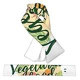 Sello de acuarela para vegetarianos, saludables, verdes, comida de granja, moderno, franela, cuello, bufandas, felpa, doble cara, suave, ligero, cruzado, bufanda y abrigos para mujeres y hombres