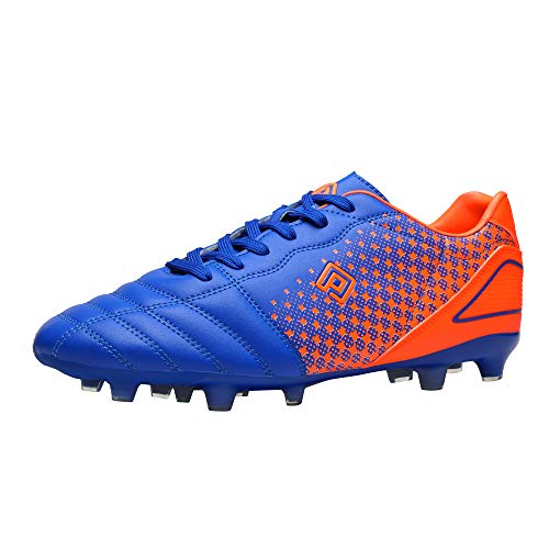 DREAM PAIRS Men's Superflight-1 Firm Ground Soccer Cleats Soccer Shoes, US,Royal Orange l,Size 7