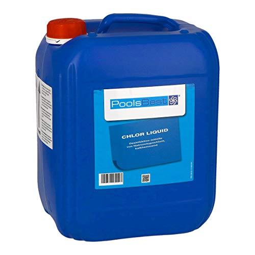 POOLSBEST® 12 kg Flüssigchlor für Pool - Chlorbleichlauge mit 13% Chloranteil - verhindert zusetzten von Leitungen