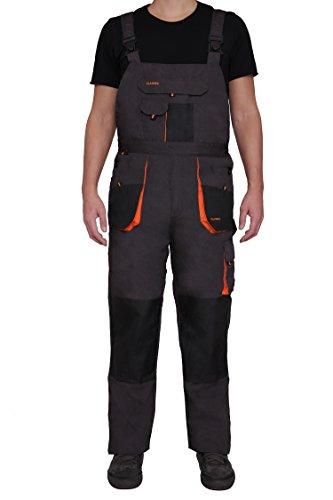 Latzhose Arbeitshose CLASSIC Handwerker KFZ Gärtner Mechaniker 270g/m2 (46, graphit/orange) - 2