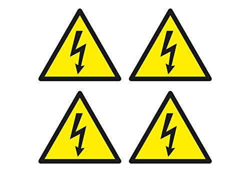 4X Aufkleber Achtung Hochspannung Strom Gefahr Warnung Hinweis Sticker Wetterfest