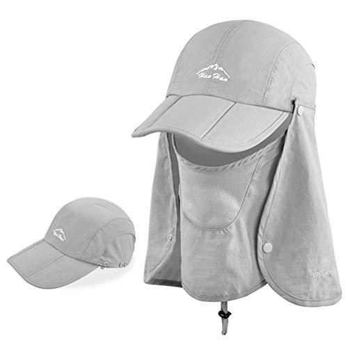 Kampre Abnehmbare Sonnenkappe mit Halsklappenabdeckung Outdoor-Angelhüte Sonnenschutz-Visierkappen