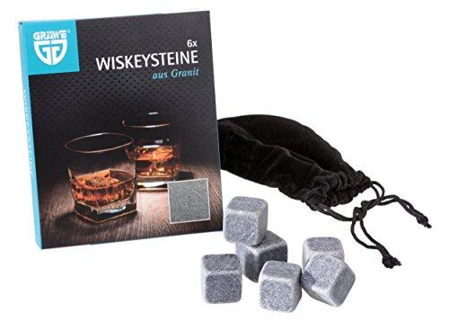 GRÄWE 6 Stück Whisky-Steine Kühlsteine aus Granit inkl. Beutel