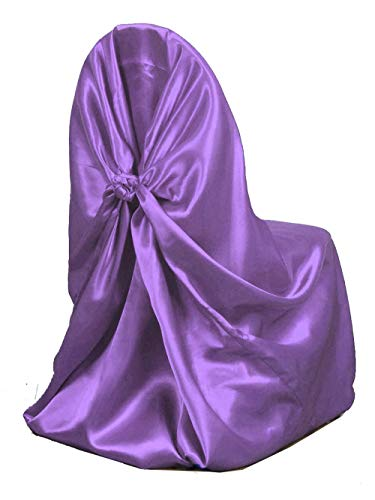 Elina Home V.C-Uni C C Pack of 25 Lavender Satin Universal Self Folding Chair Cover & Tie Back for Wedding Banquet Birthday Party Decor, One Size