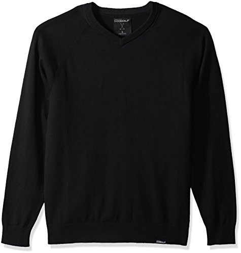 Skechers Men's Fairway Long Sleeve V Neck Cottom Cashmere Sweater Vest, Bold Black, L