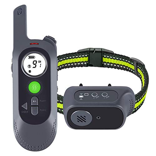 Getyeos Dog Training Collar with Voice Commands, Beep, Vibration and Shock Modes, Rechargeable Waterproof Shock Collar for Dogs with 1000Ft Remote, 1~9 Shock Levels Electric Dog Collar Set