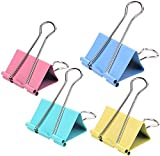 color binder clips - 24Pieces Extra Binder Clips,2 Inch Width,Paper Clips Extra Large for Office Supplies (Colors)