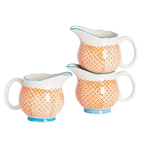 Pot à Lait/à sauces/à crème à crème à Motifs en Porcelaine - Orange/Bleue - 300 ML x3
