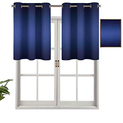 Hiiiman UV Blockout Valance Curtain Panel Night Sky Day Night Cycle Inspired Royal Blue Ombre Colored Artsy Design Print, Set of 1, 54'x18' for Children Kids Room