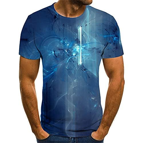 Camiseta Hombre Moderna Fresca Tecnología 3D Estampado Hombre Shirt Verano Básico Cuello Redondo Ajuste Regular Hombre Manga Corta Diario Casual All-Match Hombre Casuales Camisa TX8118 XS