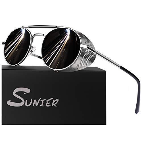 Sunier Retro Round Polarized Steampunk Sunglasses Side Shield Goggles Gothic Sun Glasses S92 Grey Lens Silver Frame