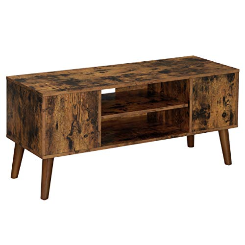 VASAGLE Retro TV Stand, Mid-Century Modern for Flat Screen Television Storage Console, Gaming Entertainment Center, in Living Room, 43.4' x 19.5' x 15.8', Rustic Brown
