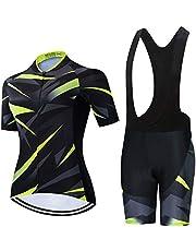 GET Conjunto de Maillot de Ciclismo para Mujer, Camisa de Manga Corta Transpirable de Verano + Pantalones Cortos de Ciclismo con Acolchado de Asiento 19D Trajes de Ciclismo MTB (Color : B, Talla : M)