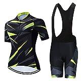 Conjunto de Maillot de Ciclismo para Mujer, Camisa de Manga Corta Transpirable de Verano + Pantalones Cortos de Ciclismo con Acolchado de Asiento 19D Trajes de Ciclismo MTB ( Color : B , Talla : XL )