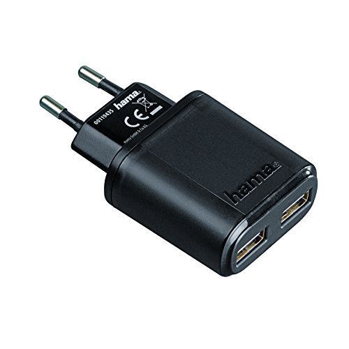 Hama Ladegerät USB Dual-Netzwerk für MP3/Smartphone und Tablet, 2.4A, Controller Ic, Schwarz