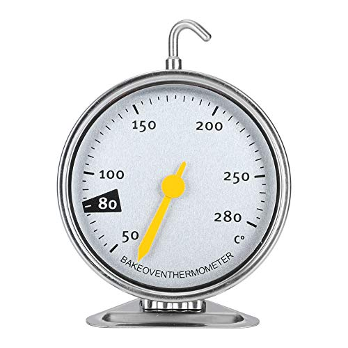 YIHEXUANkeji Termómetro de horno de acero inoxidable con esfera grande para horno con gancho y base de panel para colgar o de pie, herramienta de medición de cocina de 50-280 ℃