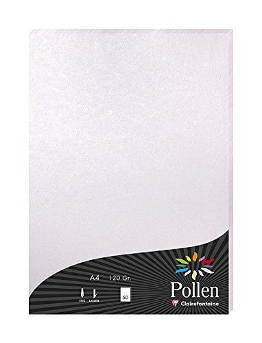 Clairefontaine 24301C Packung mit 50 Blatt Pollen, DIN A4, 210 x 297 mm, 120g, Perlmutt Rosa