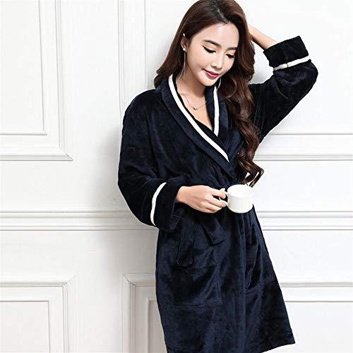 Crystallly Soft Touch Mujeres Elegantes De Franela Manga Larga Solapa Albornoz Estilo Simple del Camisón De Pijama Pijama Azul Oscuro Recorrido del Hogar Moda Pijamas Cómodos