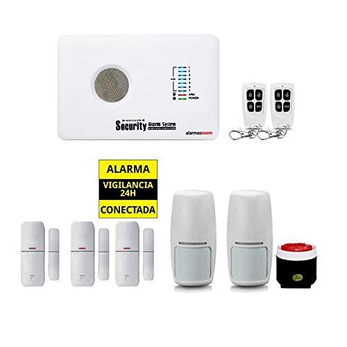 Alarma AZ018 casa hogar negocio GSM sin cuotas inalámbrica. Voces en castellano.Sin cuotas de conexión. Aviso llamada o SMS. Instrucciones instalación castellano. Facil configuración (Kit 2)