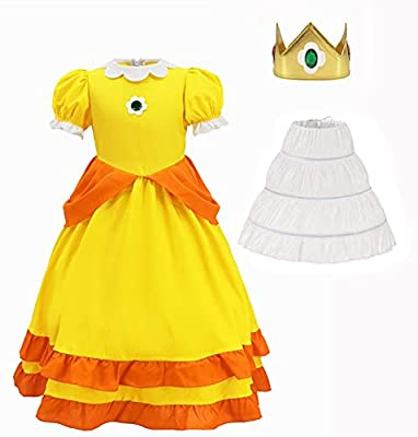 Super Brothers Princess Peach Costume With Crown For Kids Girls Halloween Party Dress Up Girls-130 from Ugoccam