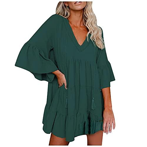 NAQUSHA Vestido suelto de línea A Lotu Leaf Shoulder Ruffle O-neck midi vestido de color sólido costura vestidos de noche