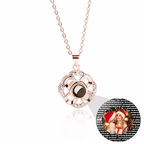 Personalized Photo Necklace Customized Projection Necklace I Love You Language Necklace Promise Necklace Christmas Thanksgiving Birthday Gift for Woman(Rose Gold Full Color 16)