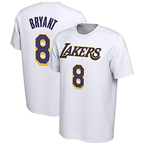 Camiseta De Baloncesto para Hombre, Manga Corta Kobe Bryant # 8 Los Angeles Lakers, Camiseta Deportiva Informal De Algodón,Blanco,XL