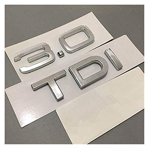 YDL Pegatinas Chrome Silver ABS 2.0 2.7 3.0 TDI Letras A4 A6 A8 Cuerpo De Automóvil Tronco Trasero Emblema Emblema Etiqueta Engomada para A3 A7 A4L A6L Q3 Q5 Q7 TT TT (Size : 2.7 TDI Quattro)