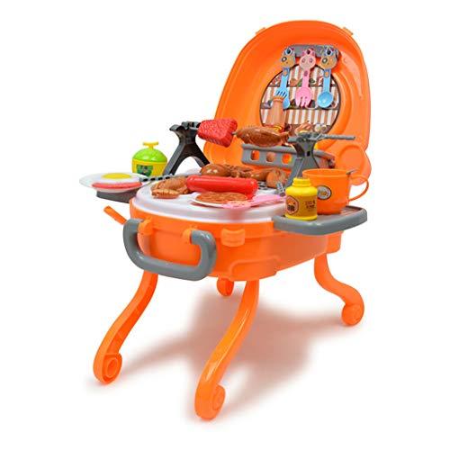 NEWCURLER Kindergrillspielset, Große Spielküche Mit Realistischen Lichtern Und Geräuschen, Interaktives Grillspielkochspielset Für Kinderküche Rollenspiel