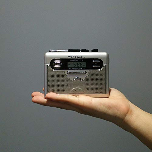 WINTECHアラームクロック搭載AM/FMラジオ付テープレコーダーシルバー(FMワイドバンドモデル)PCT-11R