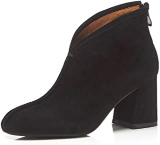 BalaMasa Womens Structured High-Heel Solid Leather Boots ABM13624