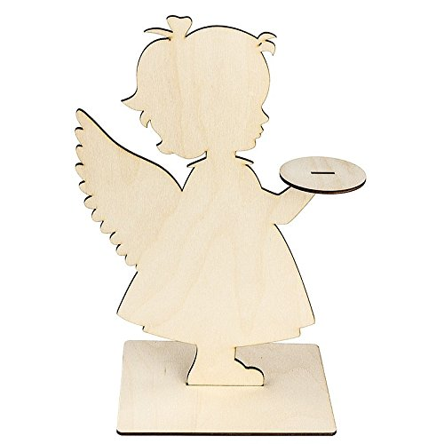 Deko-Engel aus Holz zum Aufstellen, 31cm x 19,2cm, mit Podest | Raumdekoration zum Zusammenstecken | Dekoration für Weihnachten, Advent, Winter | Schutzengel