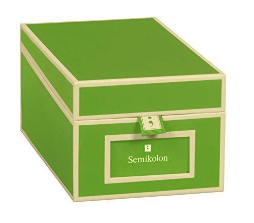 Semikolon (352646) Visitenkarten-Box mit Registern in lime (hell-grün) - Bussiness-Card-Box - Alternative zu Visitenkartenmappe, Karteikasten