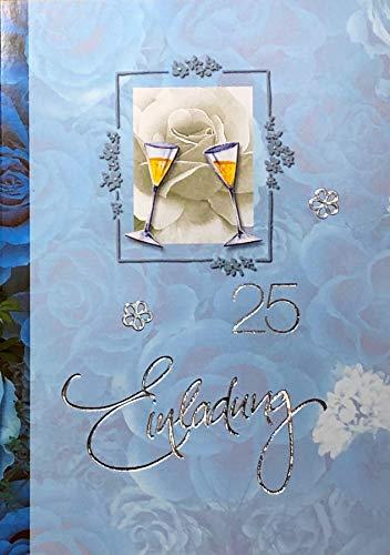 Einladungskarten silberne Hochzeit mit Innentext Motiv Silberhochzeit blaue Sekt 10 Klappkarten DIN A6 im Hochformat mit weißen Umschlägen im Set Einladung Silberhochzeit 25 Jahre verheiratet K176