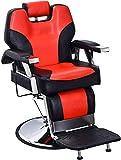 BarberPub Heavy Duty Recline Barber Chair All Purpose Hydraulic Salon Chair for Hair Stylist Spa Beauty Shampoo Equipment 2801(Black&Red)