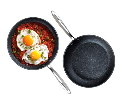 """Granite Stone Professional Frying Pan Set, Hard Anodized Ultra Nonstick 10"""" & 11.5"""" Pro Chef's Skillet Set, Durable Granite Surface Coated 3x and Infused with Minerals & Diamonds, Induction Capable"""