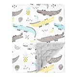 Baby Blanket Super Soft Plush with Double Layer Dotted Backing, Lovely Crocodile Animals Printed Unisex Design Receiving Blanket, 30x40 Inch