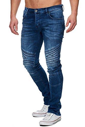 Tazzio Slim Fit Herren Biker Look Stretch Jeans Hose Denim 16526 Blau 29/32