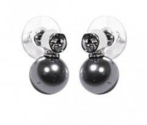 Chips clavos pendientes brillantes, color transparente y negro 1,8 cm, color gris perla Adorno colgante de piel para mujer