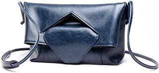 Leather 2018 New Women's Shoulder Wallet Leather Female Wallet Leather Shoulder Wallet Handbag Wallet Waterproof (Color : Blue, Size : M)
