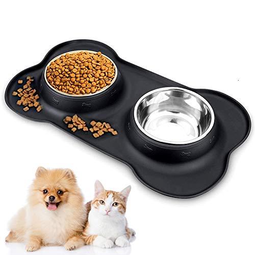 Ciotole per gatti,2 Ciotole per Gatti in acciaio inossidabile Tappetino Silicone Antiscivolo,Ciotole per animali,doppio gatto ciotola per Animali Rimovibile per Gatti e Cani di Piccola Taglia(Nero)