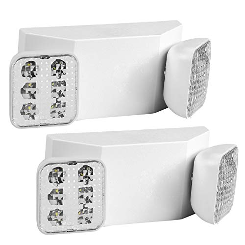 Emergency Lights LED with Backup Battery, with Adjustable Heads, Commercial or Industrial Use, Pack of 2, Rechargeable Light Bulb, Indoor Hallway or Room Safety for Residential,