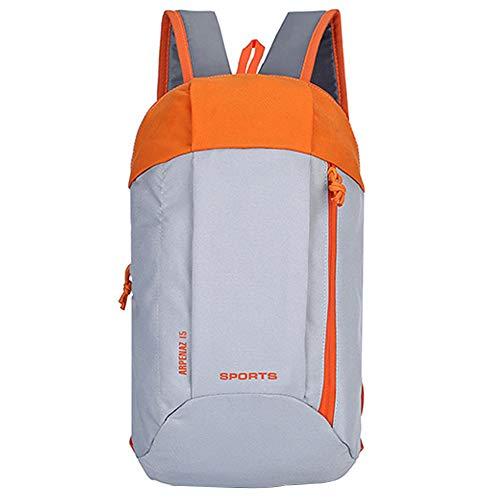 Merssavo Multi-fonction Sports Outdoor Backpack Imperméable Nylon Daypacks Pour Les Femmes Et Les Hommes, Simple Design Double Sac à Bandoulière Pour Runing Randonnée Escalade(Orange Gris)