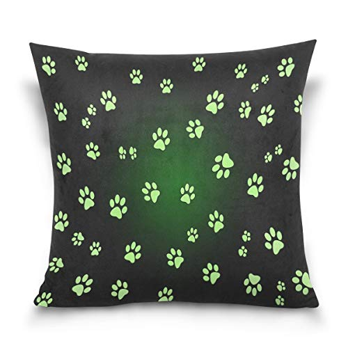 lucies Throw Pillow Case Decorative Cushion Cover Square Pillowcase, Bright Animal Paw Print Sofa Bed Pillow Case Cover(18x18inch) Twin Sides