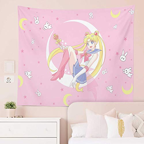Jinxy Japanese Anime Manga Pink Tapestry Sailor Moon Tapestry Lovely Girl Wall Hanging for Party Bedroom Living Room Home Decor (Sailor Moon B, 51.2' x 59.1')